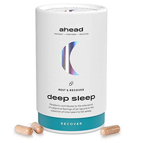 ahead DEEP SLEEP   Melatonin Kapseln mit pflanzlichen Wirkstoffen & Magnesium für die Nacht - 90 hochdosierte Tabletten als Monatsvorrat - Vegan - Natürliche Einschlafhilfe für Erwachsene
