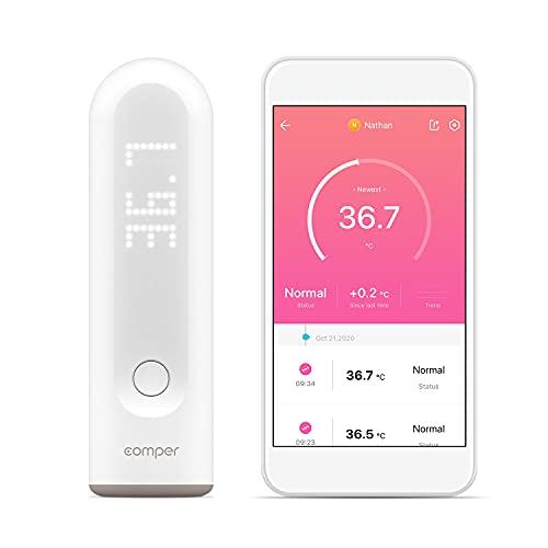Comper Thermometer Smart digital Fieberthermometer Bluetooth kontaktloses Thermometer infrarot thermometer mit innovativer App-Vernetzung für Baby,Kinder und Erwachsene…