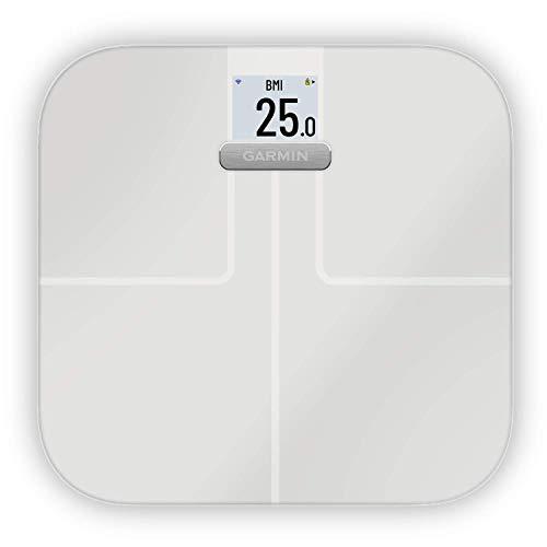 Garmin Index S2 Smart Waage – misst das Gewicht, Gewichtstrend, Körperfettanteil, Muskelmasse, BMI. Mit WLAN, Garmin Connect App-Anbindung und für bis zu 16 Personen