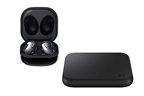 Samsung Galaxy Buds Live, Kabellose Bluetooth-Kopfhörer mit Noise Cancelling (ANC), ausdauernder Akku, Sound by AKG, komfortable Passform, Schwarz + Wireless Charger Pad P1300