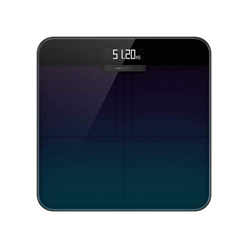 Amazfit Smart Scale, digitale Personenwaage mit hohe Messgenauigkeit bis zu 50 Gramm, Kalorienkosten, Herzfrequenzerkennung, Großes LCD-Display