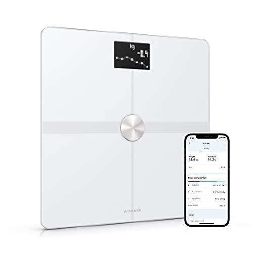 Withings Body+ - WLAN-Smart-Waage mit Körperzusammensetzungsfunktion, Messung von Körperfett, BMI, Muskelmasse, Wasseranteil, digitale Körperfettwaage, App-Sync via Bluetooth oder WLAN