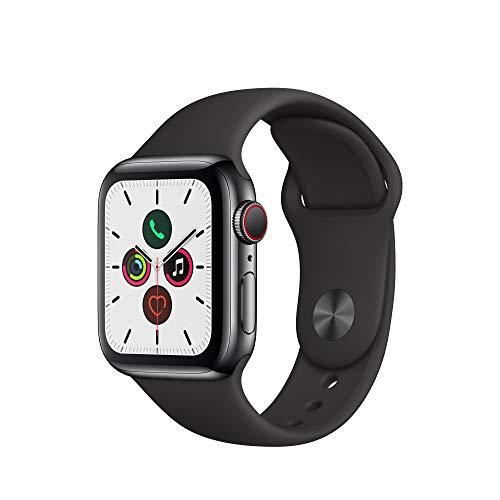 Apple Watch Series 5 (GPS+Cellular, 40 mm) Edelstahlgehäuse Space Schwarz - Sportarmband Schwarz