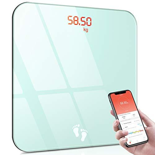 Cocoda Waage Personen mit App, Smart Personenwaage Digital, Bluetooth Körperwaage mit Step-On Technologie & Leicht Lesbar Backlit LED Display, BMI Waagen, 0.2-180kg (2 x AAA Batterien Inklusiv)