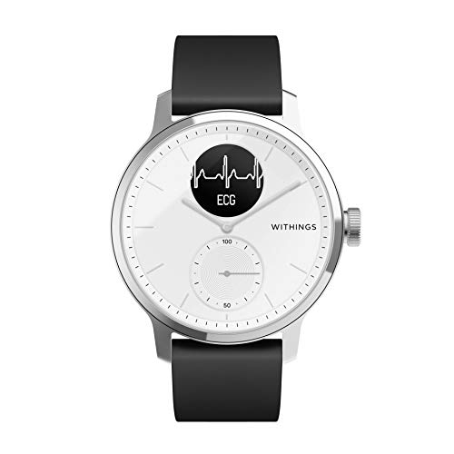 Withings Unisex-Adult Scanwatch 42mm White Hybrid Smartwatch mit EKG, Herzfrequenzsensor und Oximeter, weiß