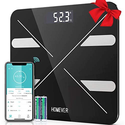 HOMEVER Körperfettwaage, Digital Personenwaage, Smart Waage mit APP for körperfett, BMI, Gewicht, Muskelmasse, Wasser, Protein, Skelettmuskel, BMR, usw, Batterien (im Lieferumfang enthalten)