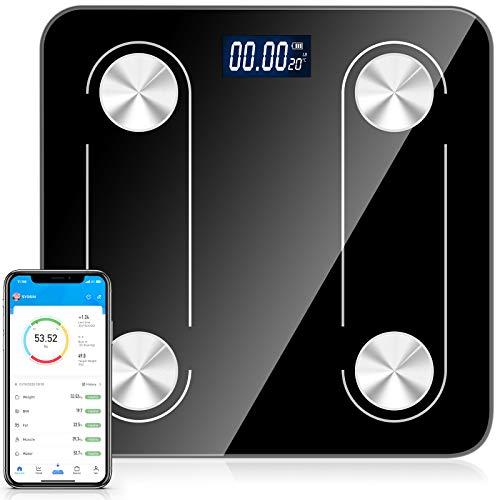 Körperfettwaage,Waage mit Körperfett,Digitale Personenwaagen,Smart Körperwaage mit APP für Gewicht Körperfett Fitness Monitor,für iOS&Android, Durch USB Kabel Wiederaufladbare,bis 180kg 400lb. (6.5mm)
