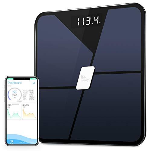 Himaly Körperfettwaage Smart Digitale Personenwaage Bluetooth Körperwaage für Körperfett,Gewicht,Körpergewicht,BMI, Körperwasser,Knochenmasse,Kalorien,viszerales Fett Badezimmerwaage bis 180KG