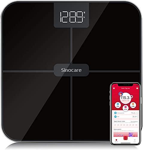 Sinocare Digitale Personenwaage, Ultraschlanke Körperwaage Hochpräzisions Sensoren Smart Waage Bluetooth App BMI Step On Technologie Rutschhemmenden Standfüßen LED Schwarz