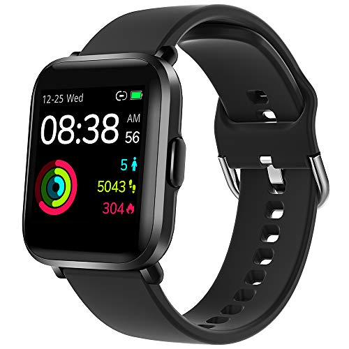 Smartwatch, YONMIG Fitness Tracker 18 Sportmodi 1.3 Zoll Touch-Farbdisplay Smart Watch mit Pulsoximeter Pulsuhr 5ATM Wasserdicht Sport Uhr Kompaß Schrittzähler Stoppuhr für iOS Android Herren