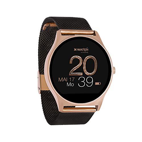 X-WATCH 54030 JOLI XW PRO - Smartwatch Damen iOS / Android - Fitnessuhr mit WhatsApp Info Samtschwarz