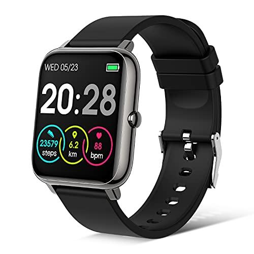Judneer Smartwatch, Fitness Armbanduhr Sportuhren Voller Touch Screen Wasserdicht Bluetooth Smart Watch Schwarz, Fitness Tracker mit Schrittzähler Schlafmonitor Stoppuhr für iOS Android Herren Damen