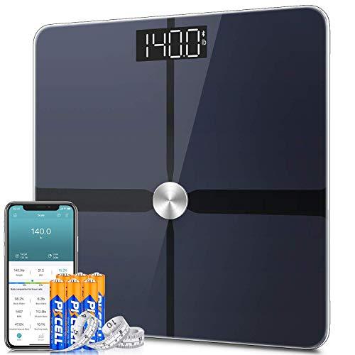 Waage Personen, 1byone Körperfettwaage, Personenwaage digital mit App, ITO smart Körperwaage Bluetooth, für Körperfett, BMI, Gewicht, Muskelmasse, Export Daten als Excel
