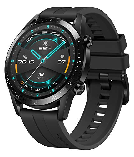 HUAWEI Watch GT 2 Smartwatch (46mm Full-Color-AMOLED, SpO2-Monitoring, Herzfrequenzmessung, Musik Wiedergabe&Bluetooth Telefonie, 5ATM wasserdicht, GPS) Matte Black [Exklusiv+5 EUR Gutschein]