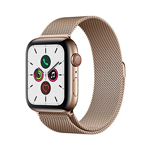 Apple Watch Series 5 (GPS+Cellular, 44 mm) Edelstahlgehäuse Gold - Milanaise Armband Gold