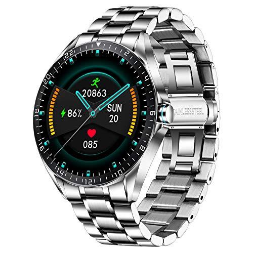LIGE Smart Watch, Fitness-Tracker MitBlutdruck, Herzfrequenzmesser, 1,3-Zoll-Touchscreen, wasserdichte IP67 Smartwatch, Fitness Uhr für Männer, Edelstahl Band für Android iOS Silber