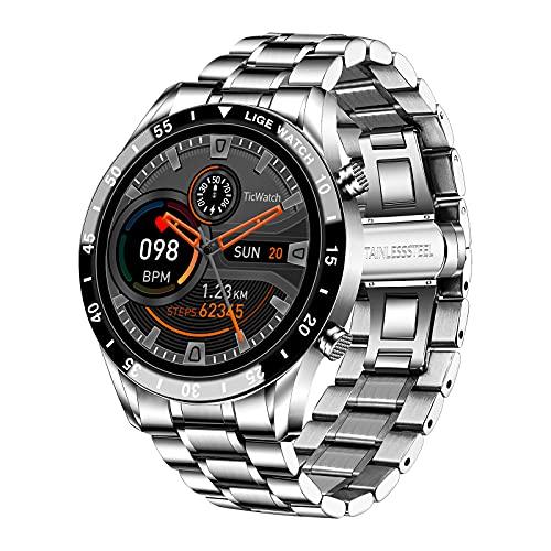 LIGE Smart Watch, 1,3 Zoll Touchscreen Fitness-Tracker mit Herzfrequenz-Schlafmonitor IP67 wasserdichte Smartwatch Edelstahl Band Fitness Uhr für IOS Andirod Silber